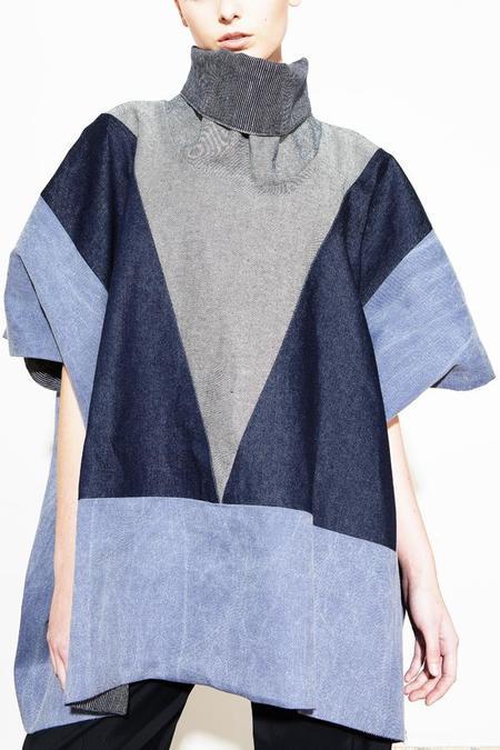 H. Fredriksson Block Poncho - Blue Denim