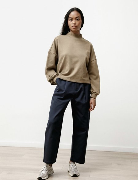 Priory Canvas Twill Pleat Trouser - Midnight