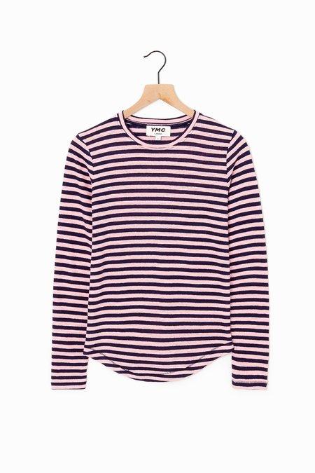 YMC Charlotte Stripe T-Shirt - Navy/Pink