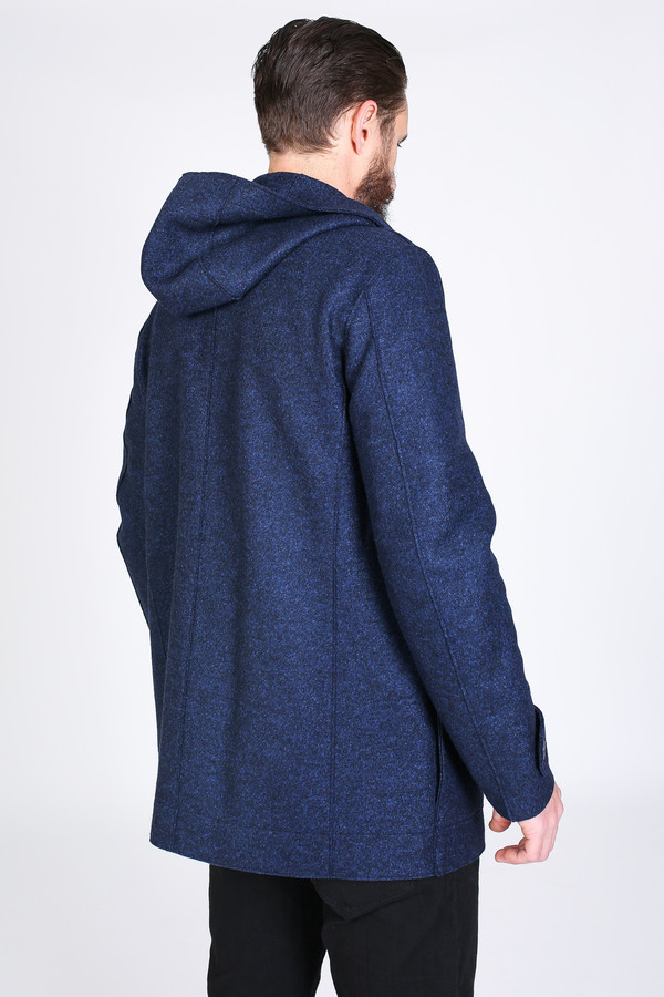 Men's Harris Wharf London Hooded Parka in Blue Mouline