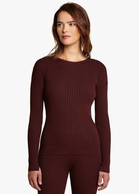 Oyun Crew neck rib top - wine