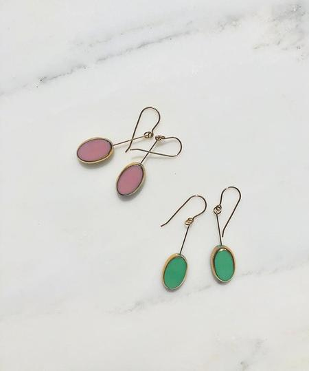 I. Ronni Kappos Oval Drop Earrings - Pink/Mint