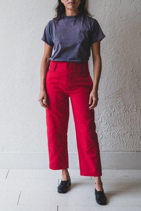 Caron Callahan Timothy Double Face Cotton Pant - Crimson