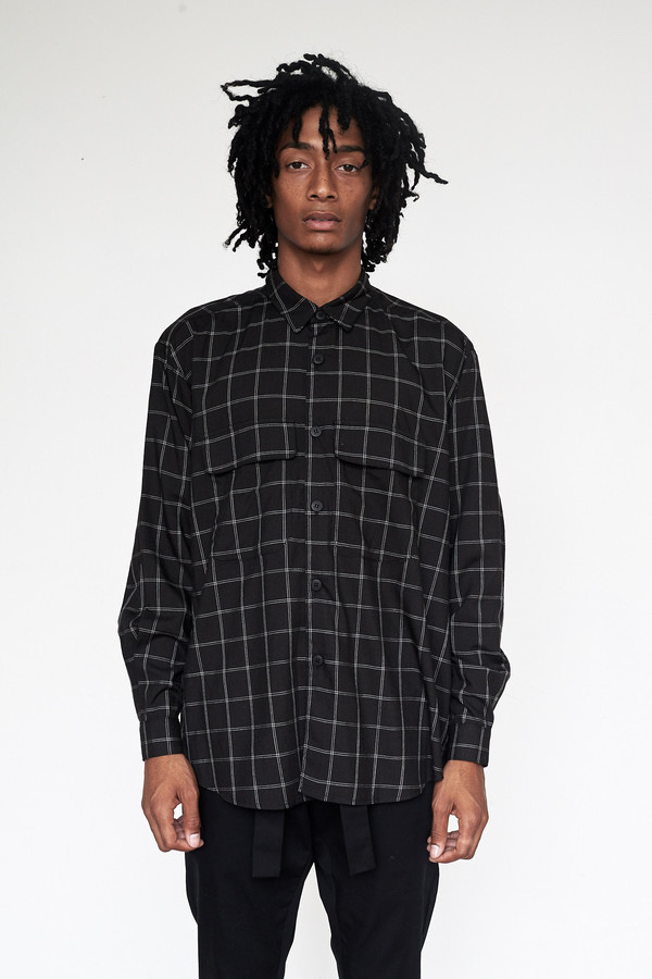 Men's Assembly New York Rayon Plaid Poet Shirt