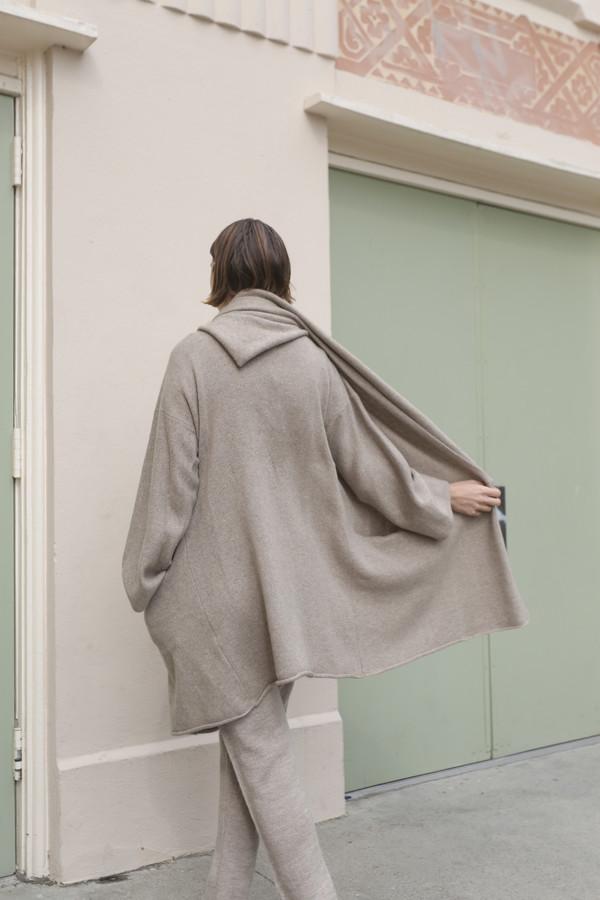 Lauren Manoogian Cashmere Capote Coat in Raw Brown