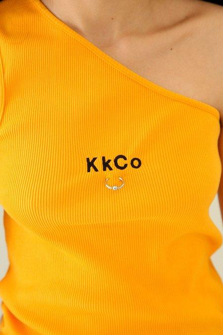 Kk Co Studio Pierced One Shoulder Rib Tank - Marigold