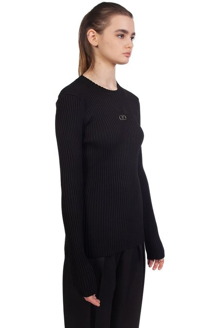 we11done Fitted Knit Centre Logo Crewneck - Black