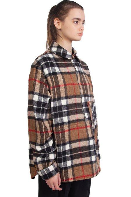 we11done Wool Half-Zip Shirt - Brown Check