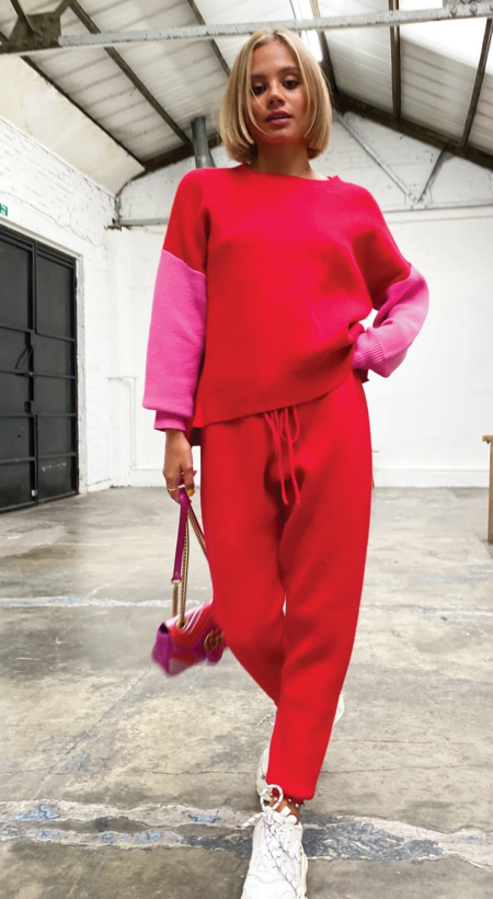 NEVER FULLY DRESSED Knit Lounge Pant - Red