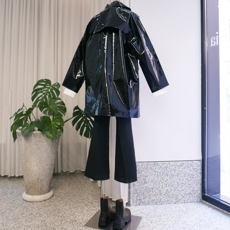KASSL EDITIONS Above the Knee Trenchcoat - Lacquer Black