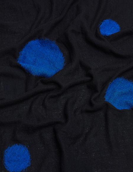Yohji Yamamoto Scarf With Blue Embroidery