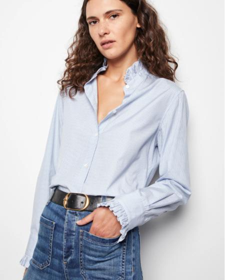 Nili Lotan Lydia Shirt - Blue/Black Stripe