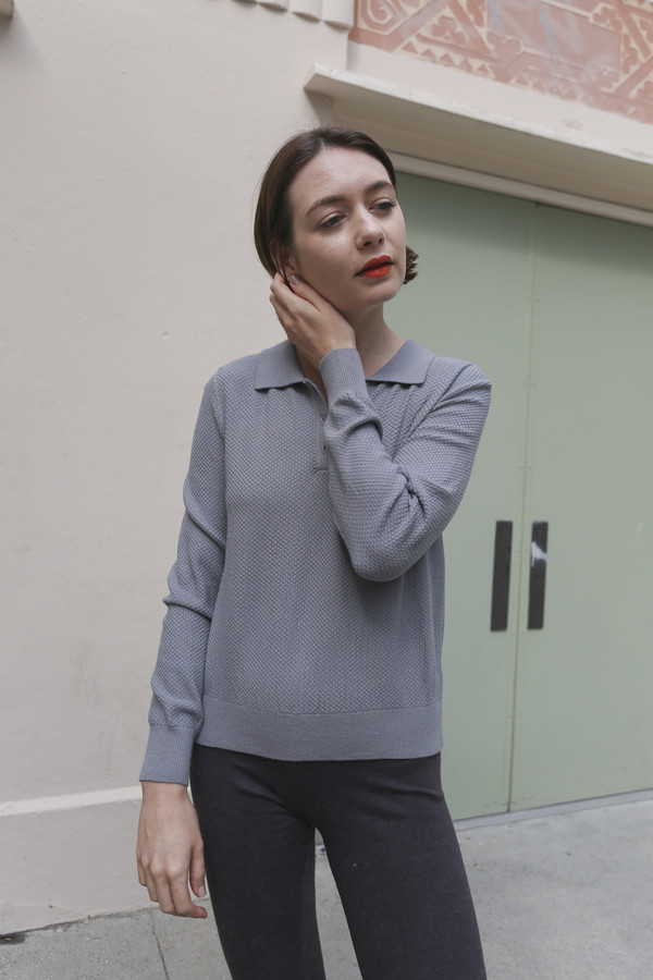 Woolly Bully Polo Crop Sweater in Gray
