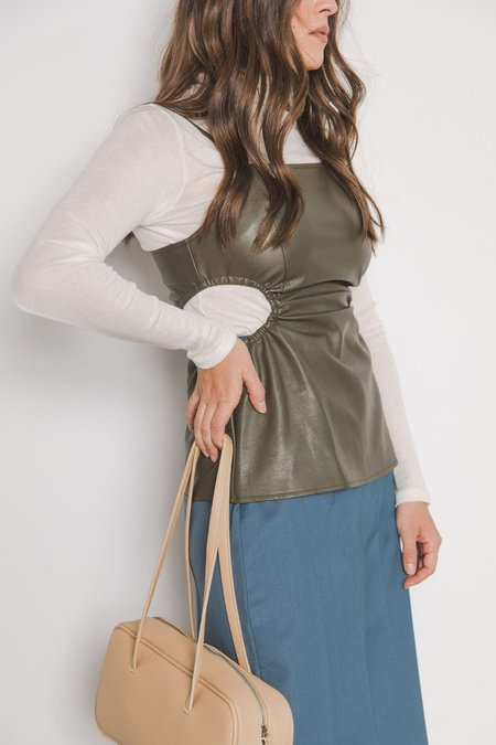 Sllow Cut Out Vegan Leather Tank Top - Olive
