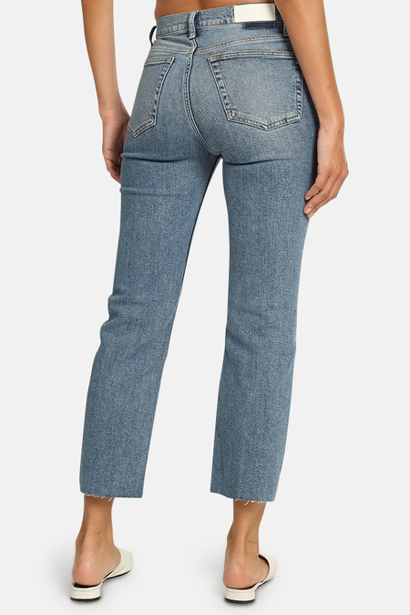 RE/DONE High Rise Stove Pipe Jeans - Medium Stone