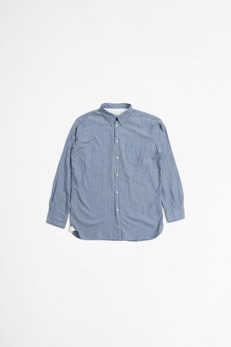 Universal Works Brooke shirt recycled - fine stripe blue
