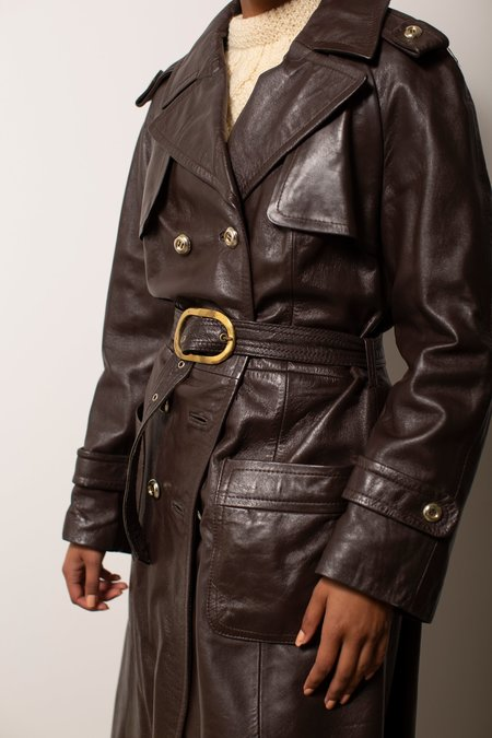 Vintage Leather Trench - Dark Brown