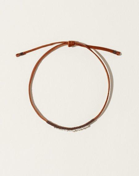 See Real Flowers Leather Bracelet - Dark Grey/Pearl