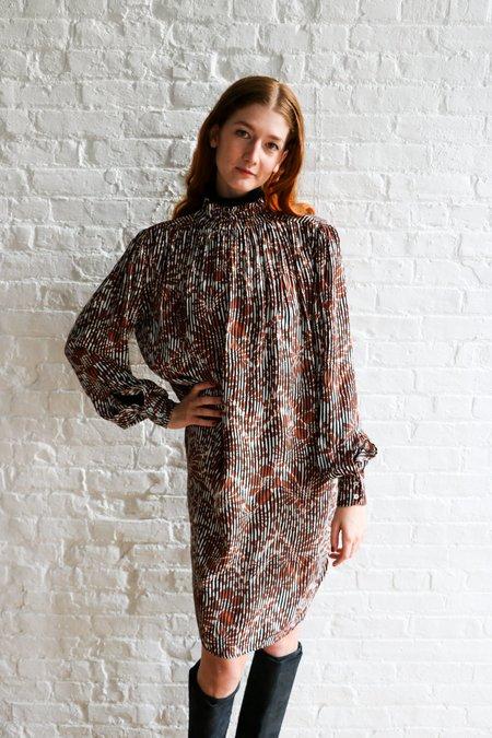 [Pre-loved] Warm Printed Midi Dress - Black/Brown