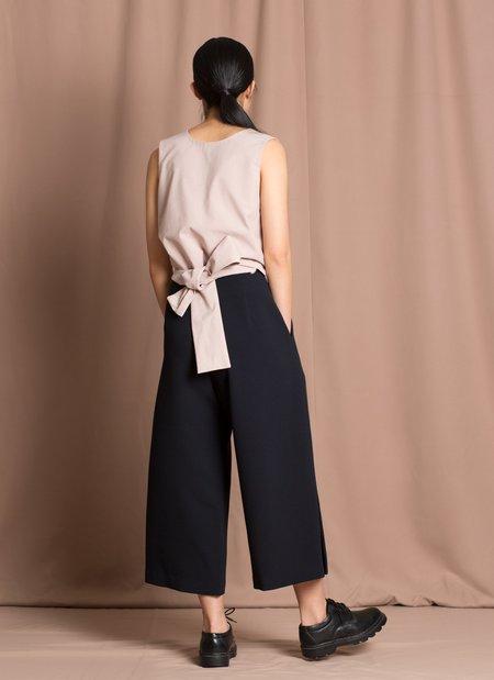 KAAREM Bambu Relaxed Wide Split Leg Pant - Black Blue