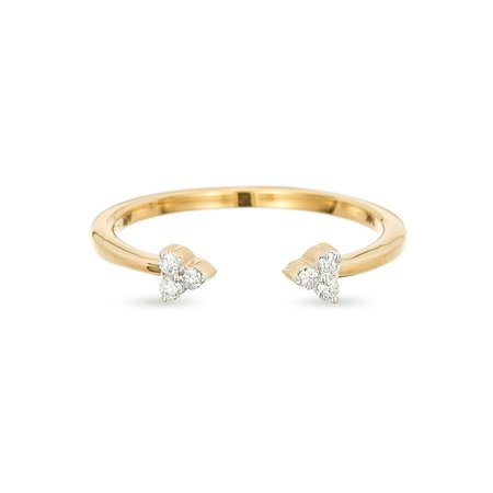 Adina Reyter Double Super Tiny Diamond Cluster Ring - 14k yellow gold