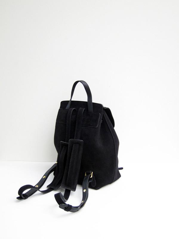 Mansur Gavriel Mini Backpack, Black, Suede