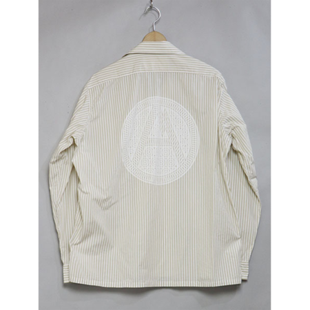 Mountain Research Open Collar Shirt - Beige Stripe