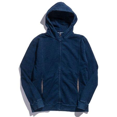 Blue Blue Japan Zip Up Indigo Dyed Hoodie Sweater - Navy