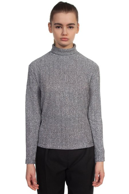we11done Turtle Neck Top - silver