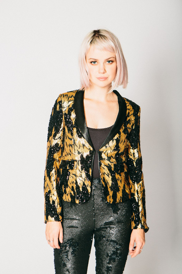 Any Old Iron Black and Gold Sequin Suit Jacket