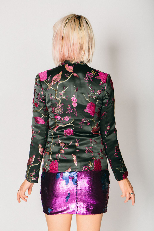 Any Old Iron Embroidered Floral Suit Jacket