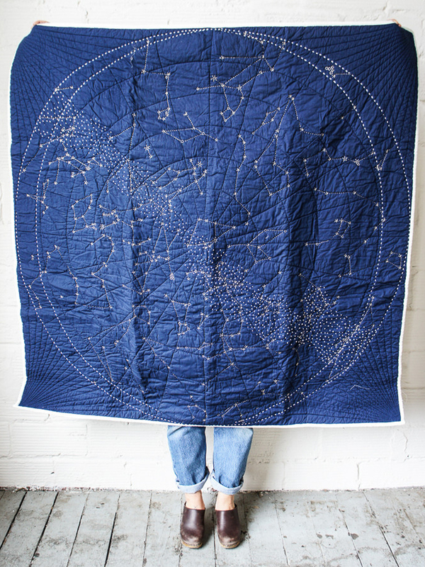 Haptic Lab Navy Embroidered Constellation Quilt - Norman & Jules