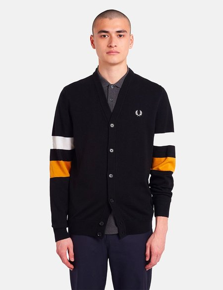 Fred Perry Tipped Sleeve Cardigan - Black