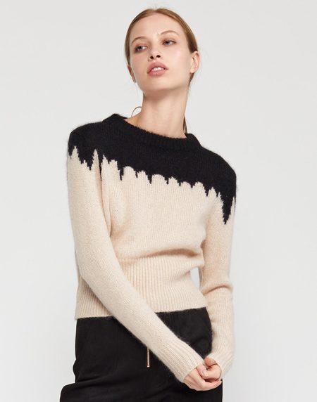 Snowbird Intarsia Knit Sweater - BLKCR