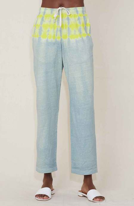 John Elliott Reconstructed Tie Dye Cropped Pants - JADE/LEMON