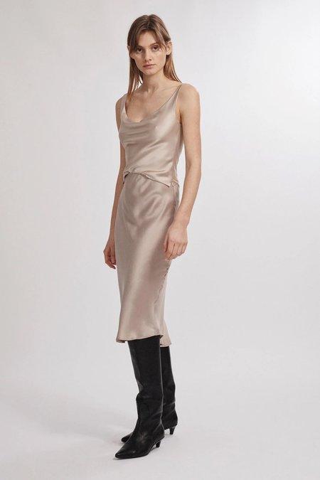 Silk Laundry Bias Cut Skirt - Aluminium