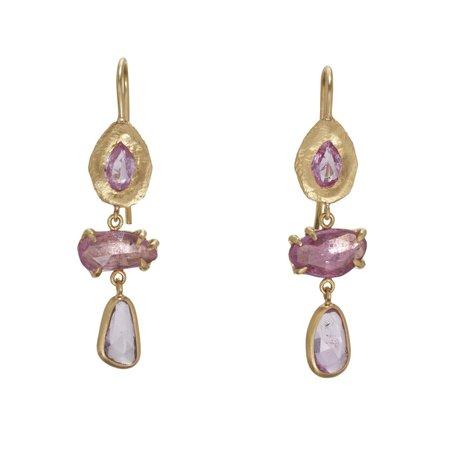 PAGE SARGISSON 18K Triple Sapphire Drop Earring - 18 karat yellow gold
