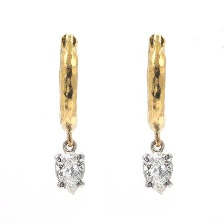 Octavia Elizabeth Fine Jewelry Charmed Pear Micro Gabby Hoop Earings - 18K Yellow