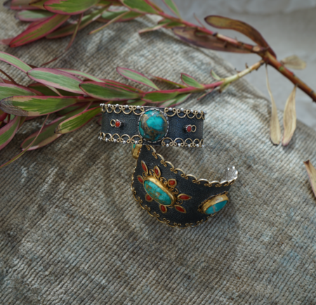 Stella Flame Desmona Turquoise Slim Cuff Bracelet - Sterling Silver
