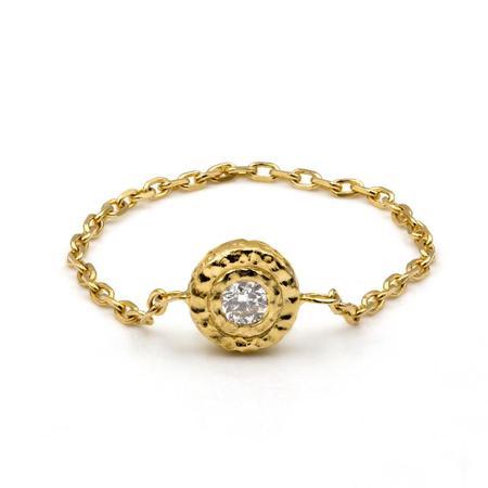 Octavia Elizabeth Fine Jewelry Diamond Nesting Gem Chain Ring - 14KT Gold