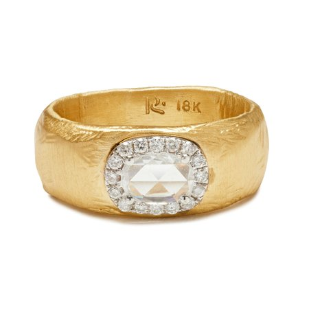 PAGE SARGISSON Pave Halo Diamond Ring - 18 Kt yellow gold