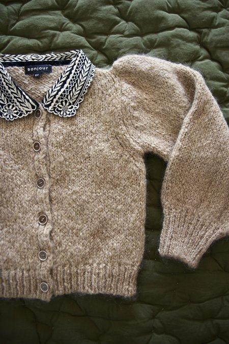 KIDS Bonjour Embroidered Collar Mohair Cardigan - Natural