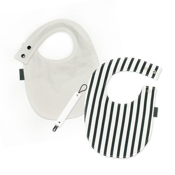même White Bibs and Pacifier Clips Set