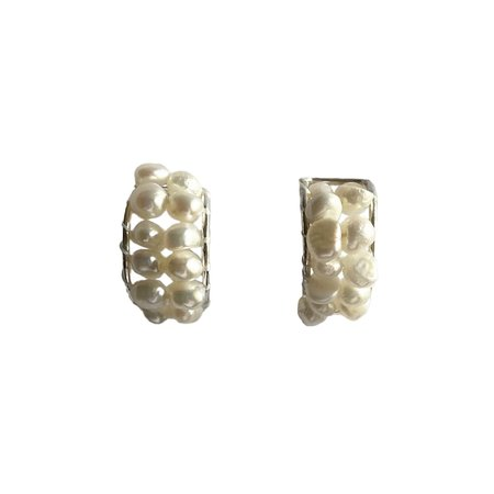 Chertova SJC PEARL HOOPS - WHITE/sterling silver