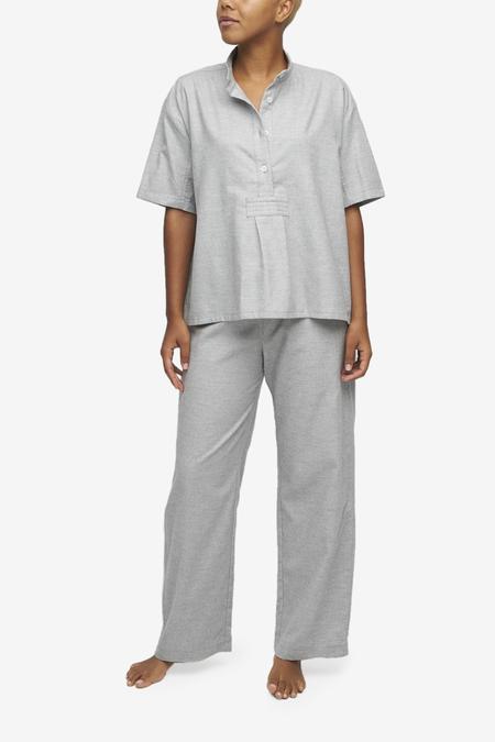 The Sleep Shirt Set Short Sleeve Cropped Sleep Shirt and Lounge Pant - Grey Twill Cashmere Blend