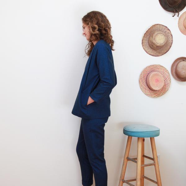 Me & Arrow Cardi Jacket - Fuzzy Heather Navy