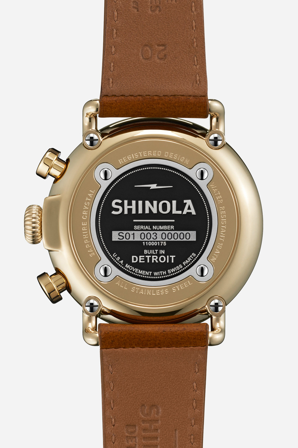 Shinola The Runwell Chrono 41mm in blue & sunflower