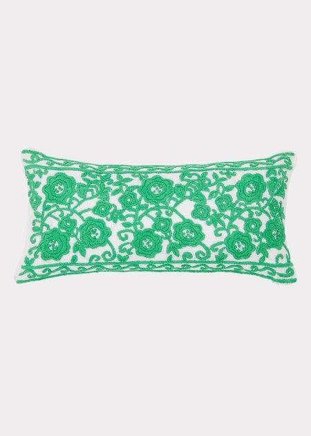 Caramel Embroidered Cushion - Natural/Emerald