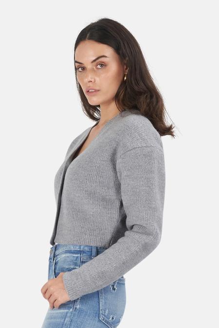 Moussy Ribbed Cardigan Sweater - Titanium Grey