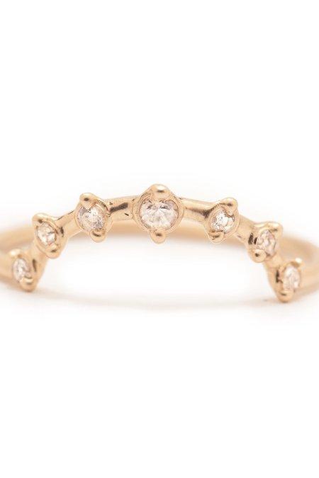 Valley Rose 14K Gold Mini Stargazer Ring - White Sapphire
